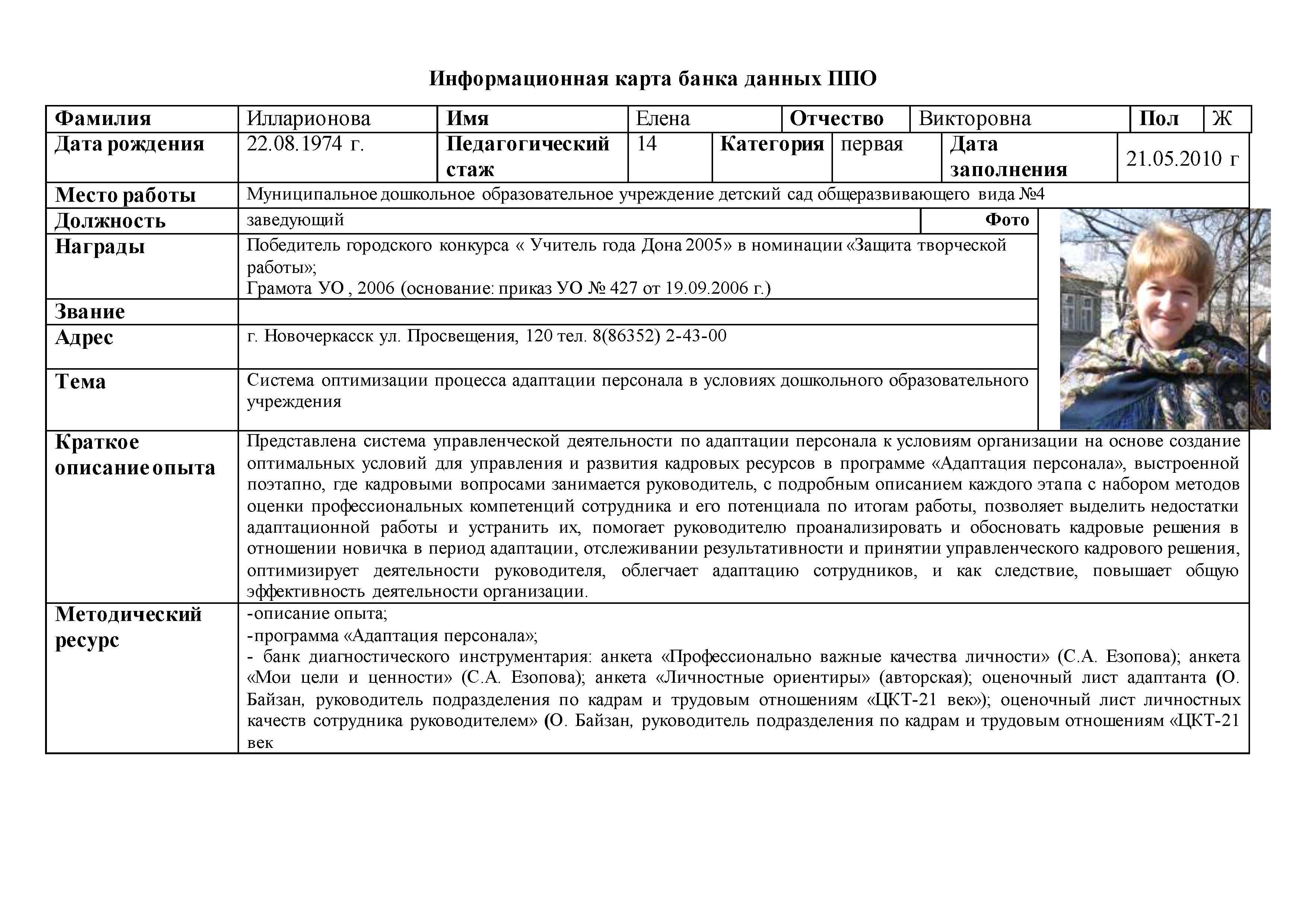 Информационная карта банка данных ППО