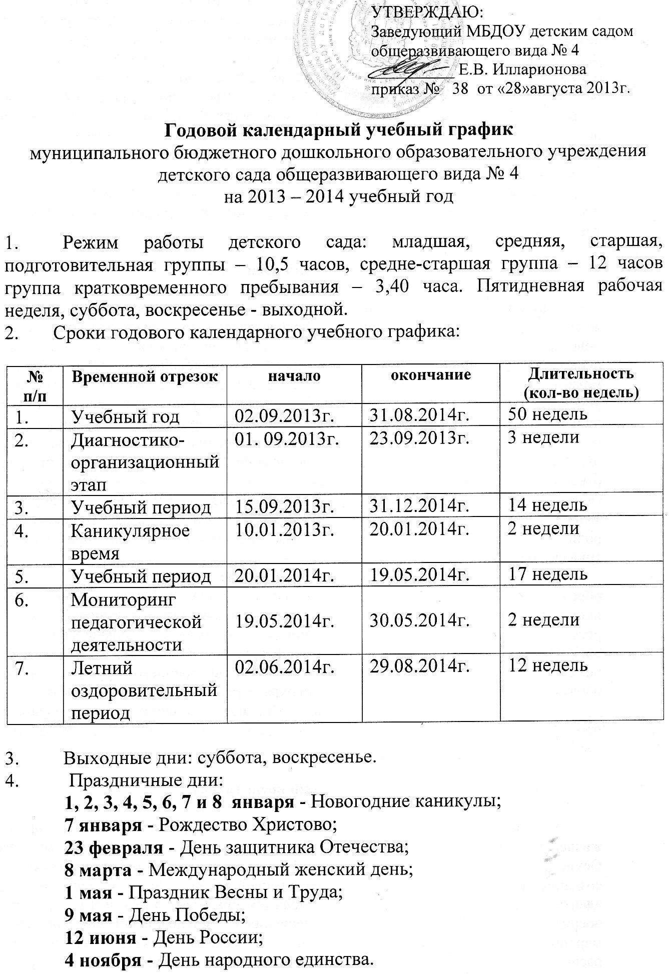 годовой календарный учебный график 2013-2014